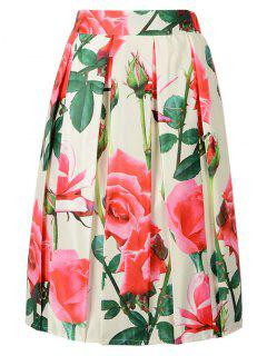 High Waisted Flower Print A Line Skirt - Beige