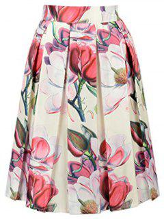 Flower Print High Waisted A Line Skirt - Off-white
