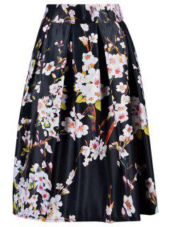 A Line Tiny Floral Print Skirt - Black