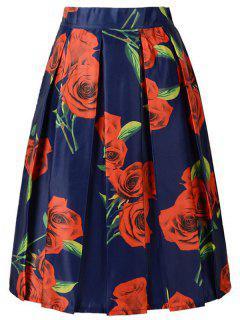 Una Línea Roja De La Impresión De Rose De La Falda - Azul Purpúreo