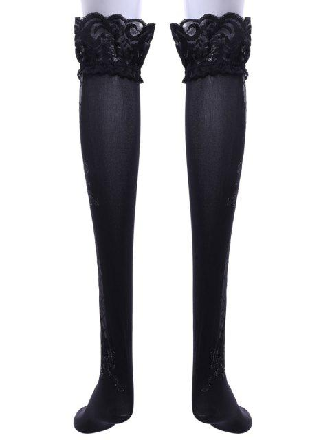 fashion Pair of Chic Bowknot and Interlace Pattern and Lace Design Stockings For Women - BLACK  Mobile