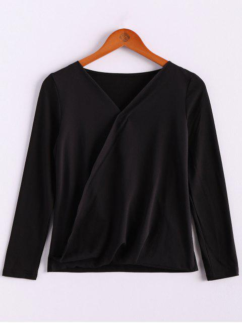 shops V-Neck Long Sleeve Splicing Blouse - BLACK XL Mobile