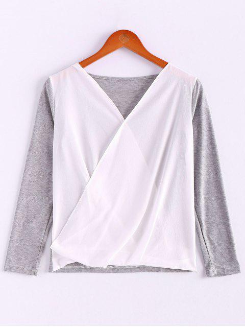 sale V-Neck Long Sleeve Splicing Blouse - GRAY L Mobile