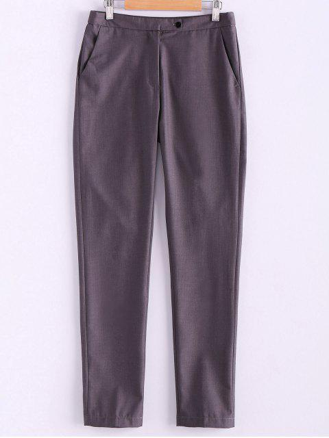trendy Narrow Feet Solid Color Pants - GRAY L Mobile