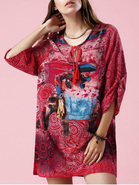 Robe Imprimée Éléphant à Col en V et Manches 3/4 - Multicolore M Mobile