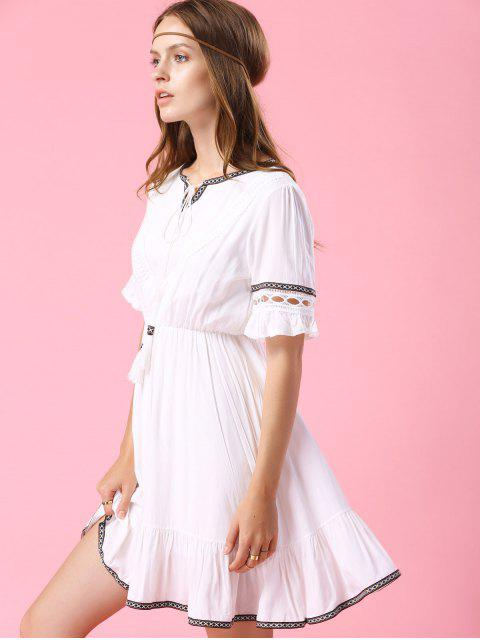 affordable Embroidery V Neck Short Sleeve A Line Dress - WHITE S Mobile