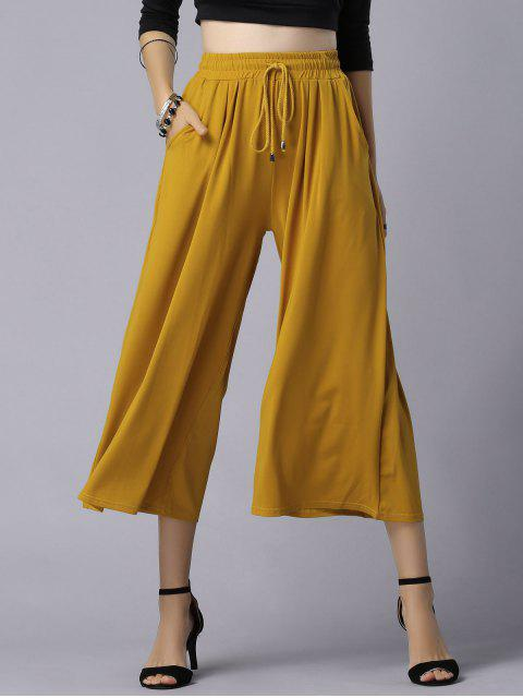 ladies Wide Leg Elastic Waist Drawstring Pants - GINGER 5XL Mobile