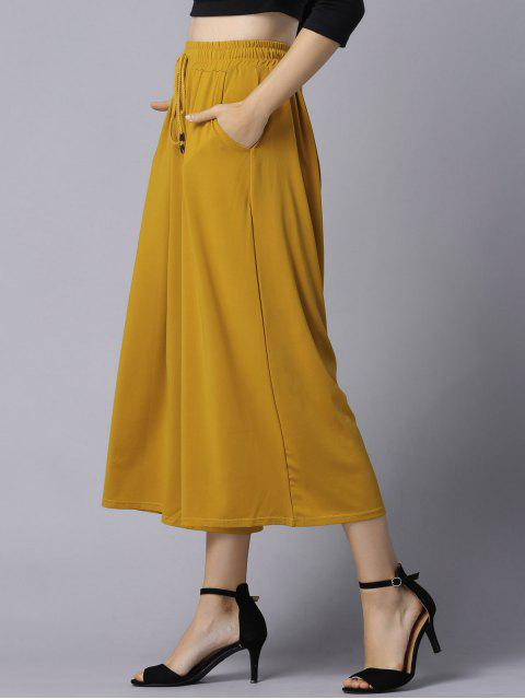 new Wide Leg Elastic Waist Drawstring Pants - GINGER XL Mobile