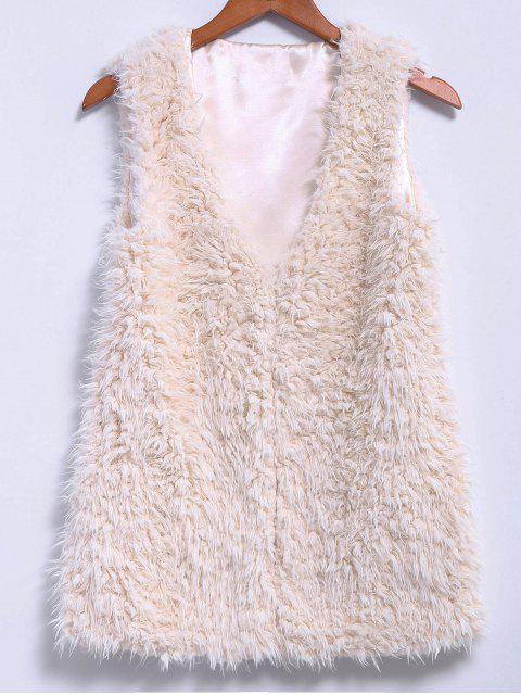 best Lamb Wool V-Neck Sleeveless Waistcoat - OFF-WHITE M Mobile