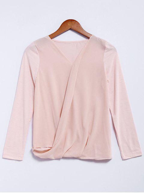 trendy V-Neck Long Sleeve Splicing Blouse - PINK M Mobile