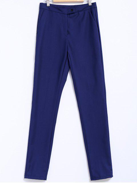 fancy Narrow Feet Solid Color Pants - BLUE L Mobile