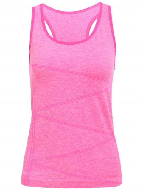 ladies Space Dyed U Neck Racerback Top - ROSE MADDER S Mobile