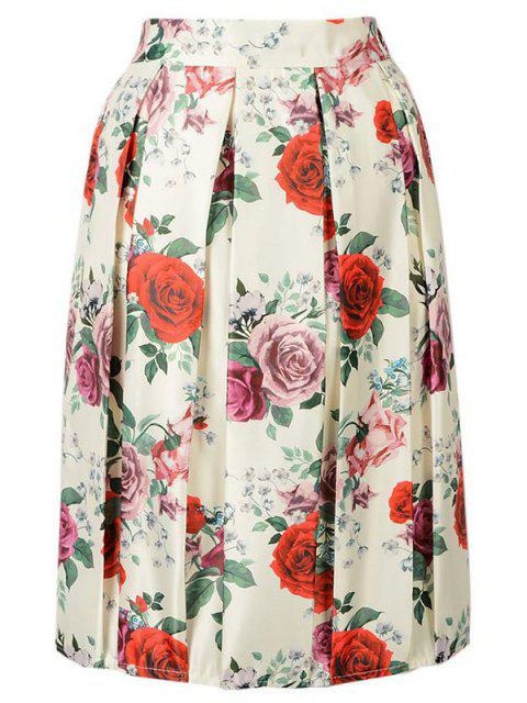 trendy Rose Print A Line Skirt - BEIGE ONE SIZE(FIT SIZE XS TO M) Mobile