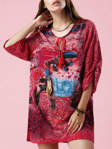 Elephant Print V Neck 3/4 Sleeve Dress - S