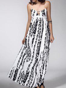 ماكسي عارية الذراعين خلاصة طباعة فستان عارضة الانزلاق - أبيض Xl