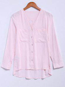 Buy Single-Breasted V-Neck High Low Shirt - PINK L