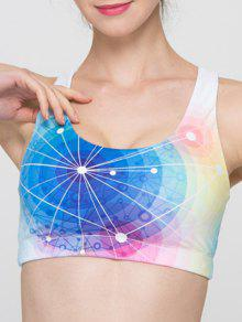 Buy Full Coverage Colorful Hollow Criss Sport Bra - COLORMIX M