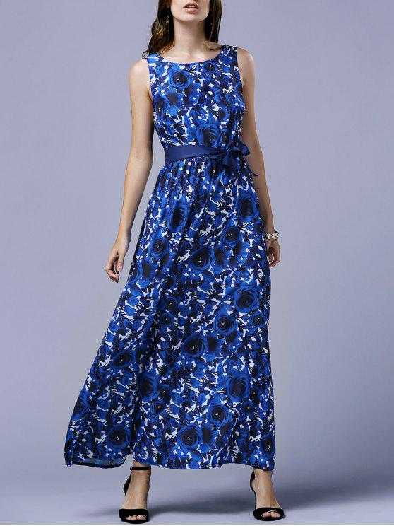 ladies Blue Rose V-Back Maxi Dress - BLUE M