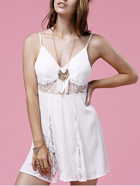 الفستان القصير الأبيض مع رباط الجدالة - أبيض M