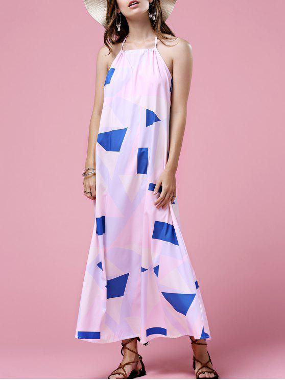 hot Print Open Back Halter Sleeveless Dress - WHITE XL