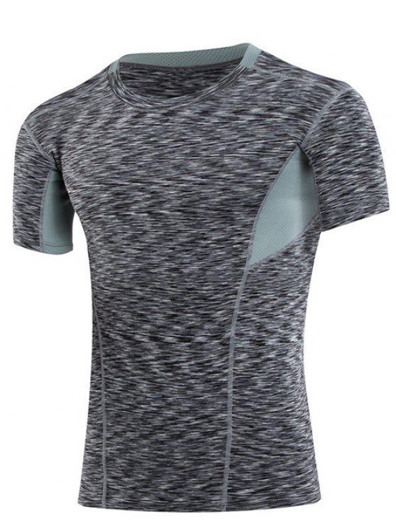Dimagrante colori Elastic Block collo rotondo Gym T-shirt per gli uomini - Nero M