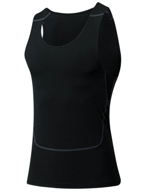 Men 's Tank Top Sport Tight col rond Qick-Dry - Noir M
