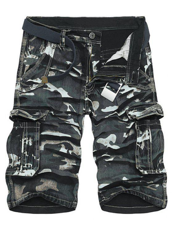 Cópia de Camo Multi-bolso soltas Fit Hetero Leg Zipper Fly carga Shorts para homens - Preto 31