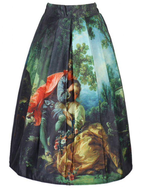best Figure Print A Line Skirt - COLORMIX ONE SIZE(FIT SIZE XS TO M)