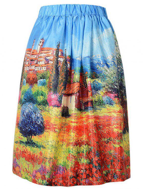 Una impresión de la falda del paisaje Line - Azur Un tamaño(Montar tam