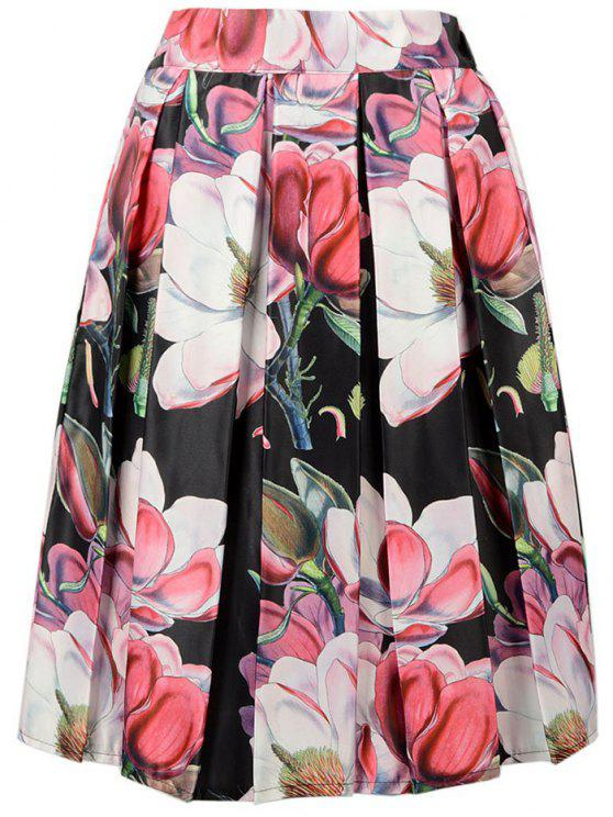shop A-Line Flower Print Skirt - BLACK ONE SIZE(FIT SIZE XS TO M)
