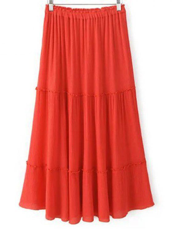 shops Solid Color Elastic Waist High Waist A-Line Skirt - JACINTH M