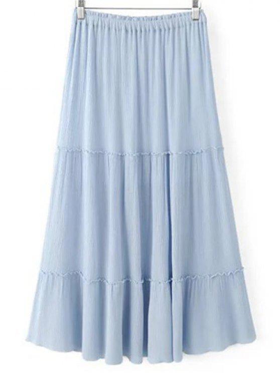 Color sólido de la cintura elástico de la cintura una línea de Falda de alta - Azul Claro S