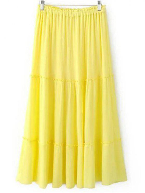 buy Solid Color Elastic Waist High Waist A-Line Skirt - YELLOW M
