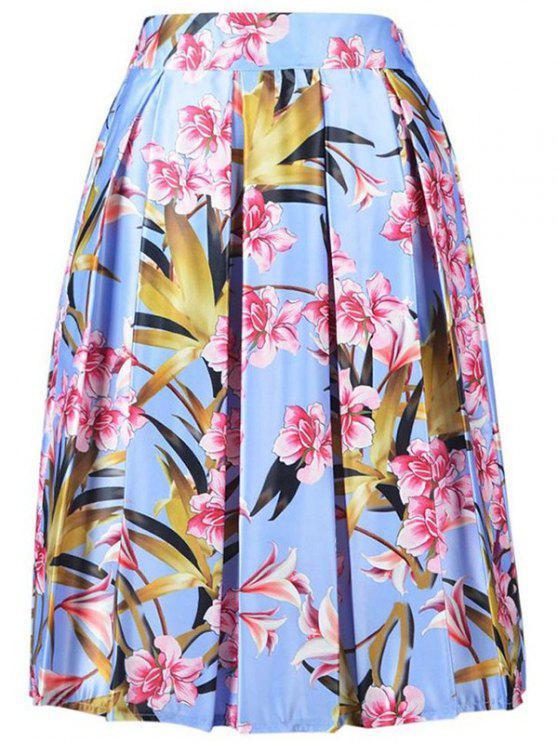 De cintura alta de la impresión floral de la falda de línea A - Azul Claro Un tamaño(Montar tam