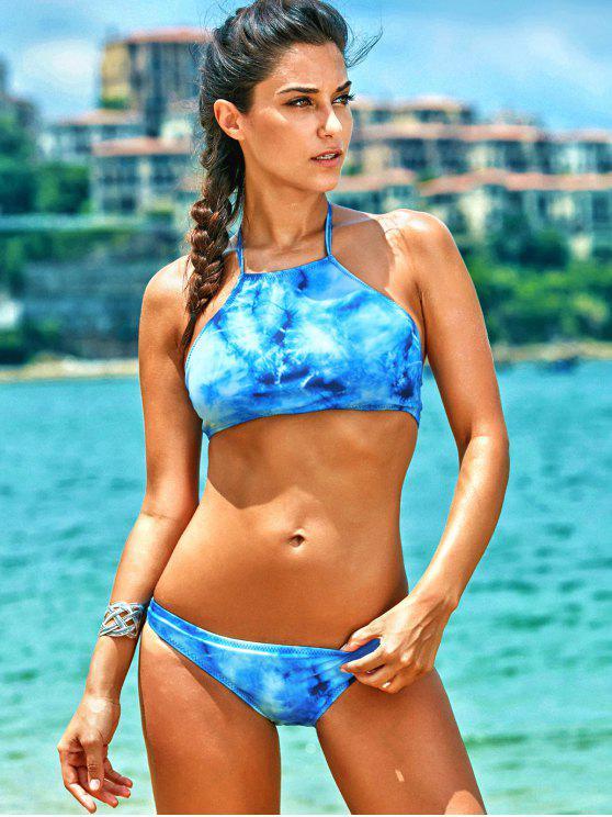 3acb1f54dab 17% OFF] 2019 High Neck Tie Dye Bathing Suit In BLUE | ZAFUL