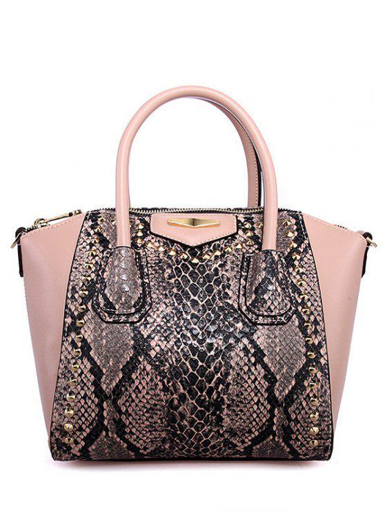 9a3f75e648b8a0 38% OFF] 2019 PU Leather Snake Print Rivet Tote Bag In PINK | ZAFUL