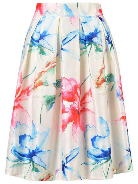 trendy High Waisted A Line Flower Print Skirt - OFF-WHITE ONE SIZE(FIT SIZE XS TO M)