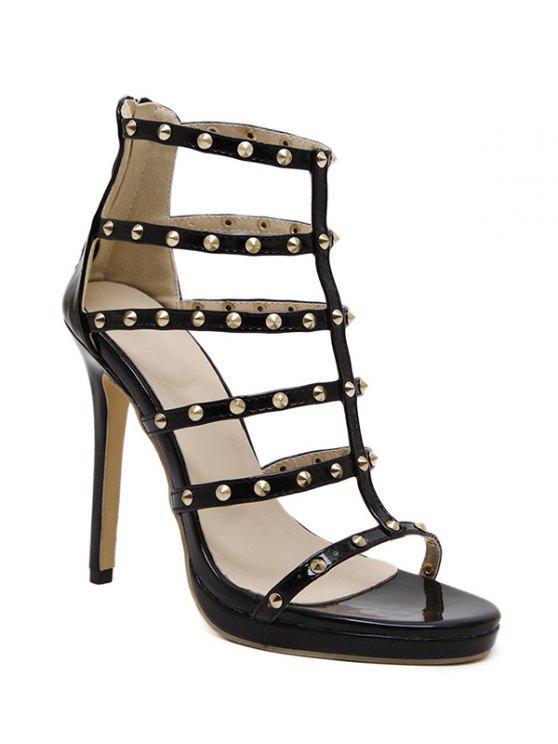 hot Rivet Black Stiletto Heel Sandals - BLACK 39