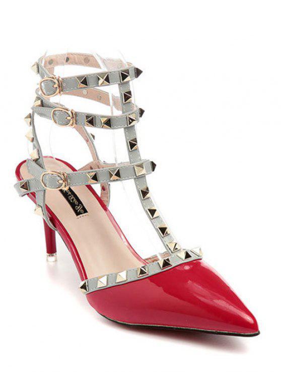 buy Rivet Pointed Toe Stiletto Heel Sandals - RED 39