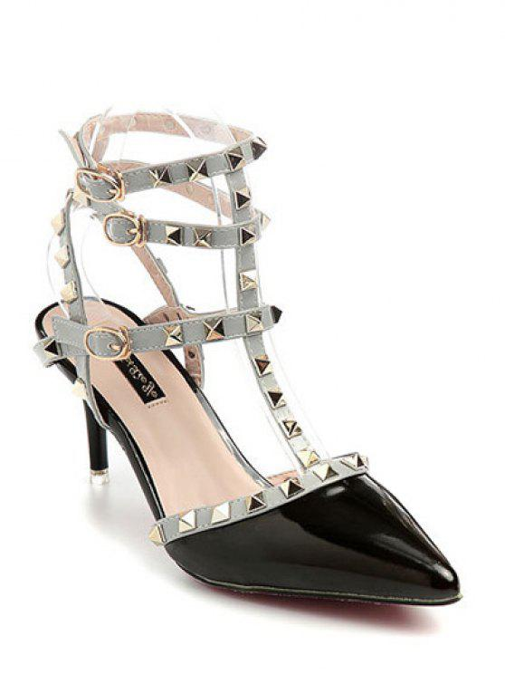 best Rivet Pointed Toe Stiletto Heel Sandals - BLACK 38