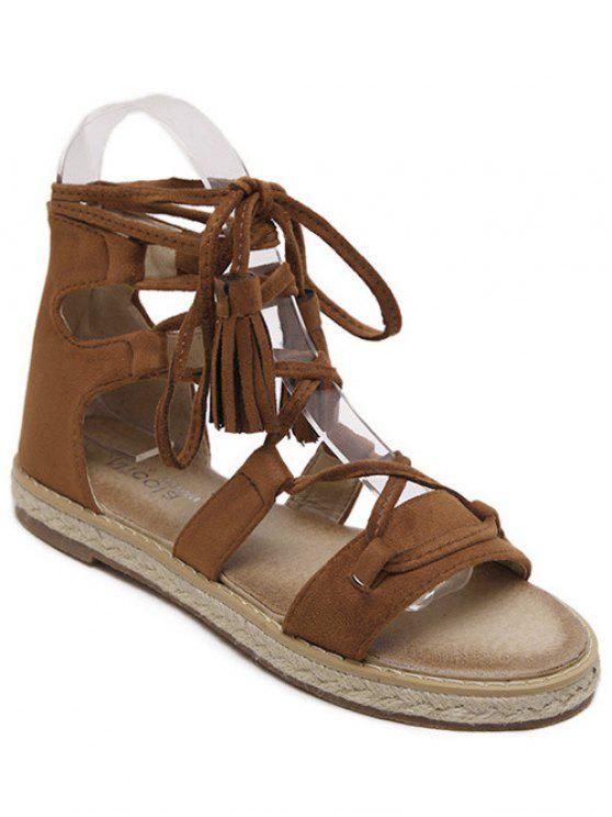 shop Tassel Lace-Up Weaving Sandals - BROWN 39