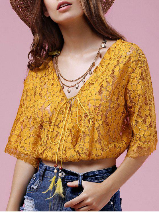 a58d5d2229c7e7 30% OFF] 2019 Full Lace V Neck Half Sleeve Blouse In GOLDEN | ZAFUL