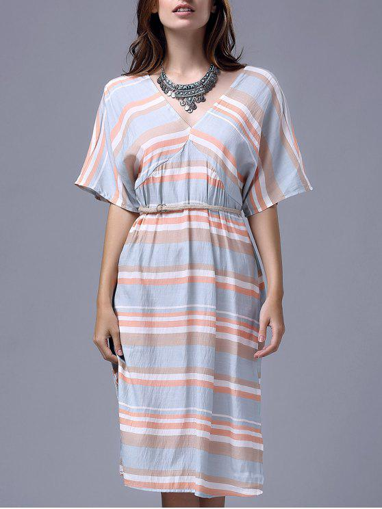 shops Striped V Neck Half Sleeve A Line Dress - STRIPE S