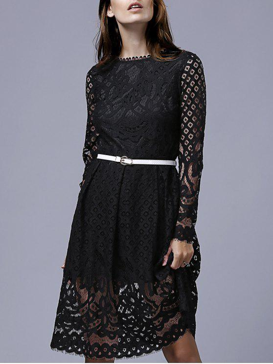 trendy Lace Round Neck Long Sleeve A Line Dress - BLACK M