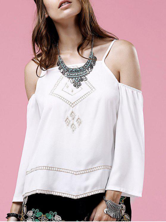 unique Embroidery Cami Long Sleeve Cold Shoulder Blouse - WHITE M