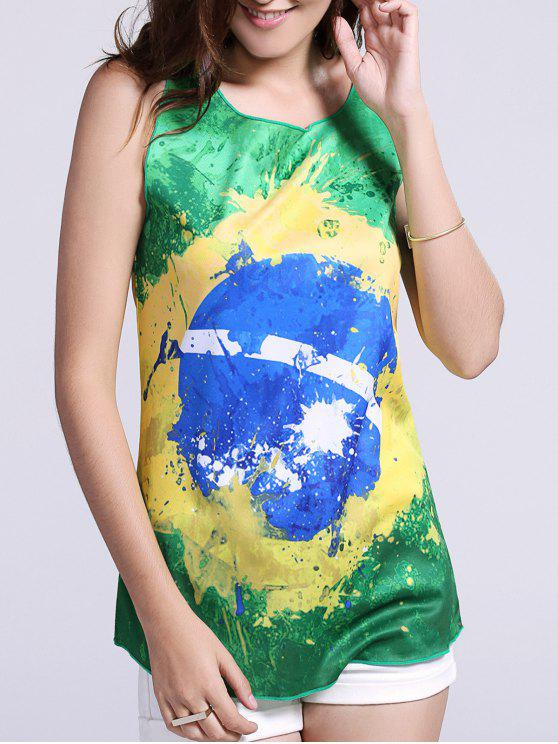 women Women's Chic Brazil Hit Color Print Tank Top - GREEN L
