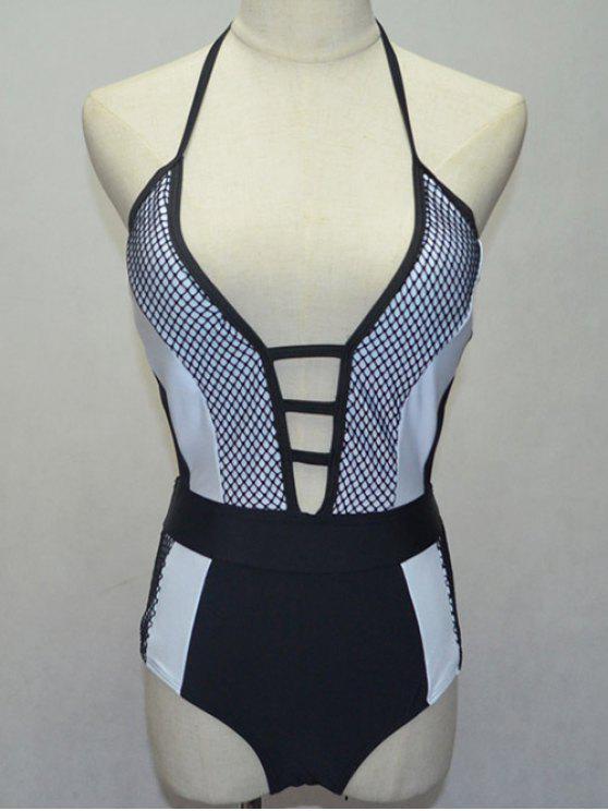ladies Black and White Halterneck One-Piece Swimwear - WHITE AND BLACK S