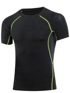 Minceur élastique Solide Col Rond Couleur T-shirt Gym Pour Les Hommes - Gris Noir S