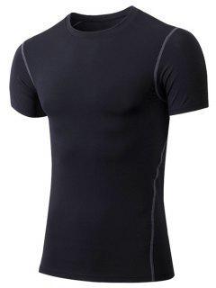 Men's Slimming Elastic Round Collar Gym T-Shirt - Black 2xl