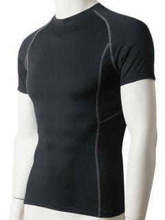 Men's Slimming Elastic Compression Round Collar Gym T-Shirt - Black M